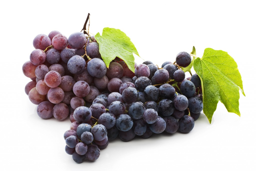Red Grape With Green Leaf